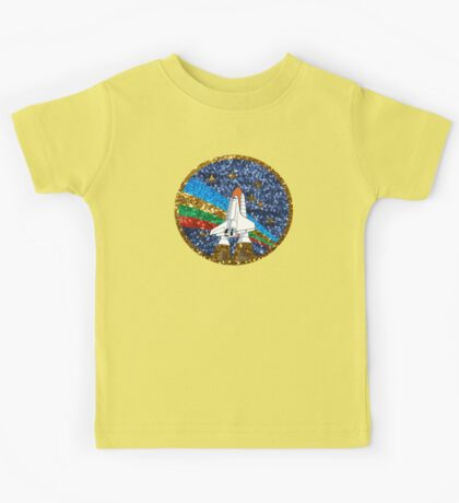 glitter space ship Kids Tee