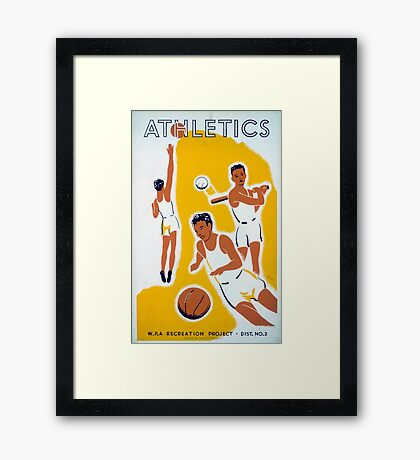 Vintage WPA Athletics Basketball Baseball Framed Print