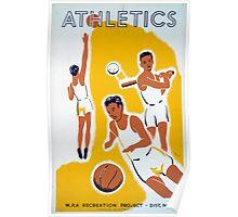 Vintage WPA Athletics Basketball Baseball Poster
