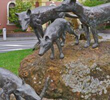 Thylacine statues, Launceston, Tasmania, Australia Sticker