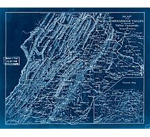 Civil War Maps 0969 Map of the Shenandoah Valley to illustrate the Valley Campaign of ''Stonewall'' Jackson 1862 Inverted Photographic Print