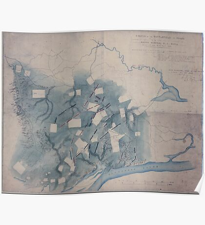 Civil War Maps 1646 Sketch of the battlefield of Shiloh showing the disposition of the troops under the command of Major General DC Buell on the 6th and 7th of April 1862 02 Poster