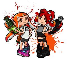 Inking Girl v Octoling Girl Splat Photographic Print