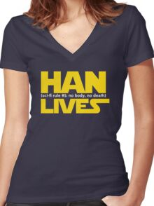Han Lives - Type Only Women's Fitted V-Neck T-Shirt