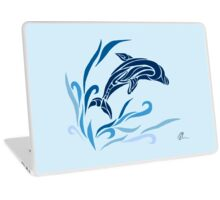 Leaping dolphin (colored) Laptop Skin