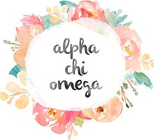 Alpha Chi Omega Watercolors by SLEV