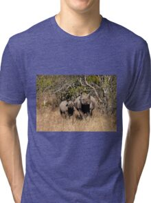 Black Rhino and baby, South Africa Tri-blend T-Shirt