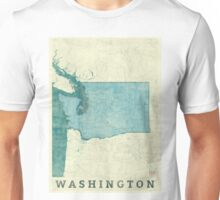Washington State Map Blue Vintage Unisex T-Shirt