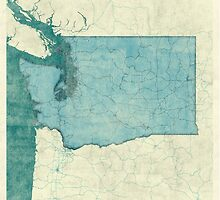 Washington State Map Blue Vintage by HubertRoguski