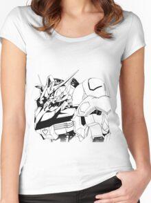 Gundam Barbatos Black and White Women's Fitted Scoop T-Shirt