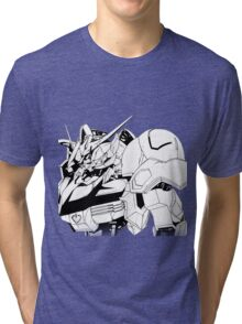 Gundam Barbatos Black and White Tri-blend T-Shirt