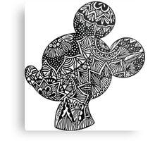 Mouse Zentangle Metal Print