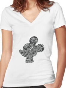 Mouse Zentangle Women's Fitted V-Neck T-Shirt