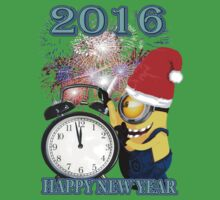 CLOCK NEW YEAR 2016 WITH BANANA Kids Tee
