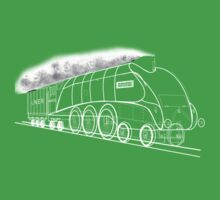 My vector line-art white on black drawing of the Mallard Steam Locomotive Kids Tee