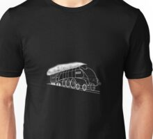 My vector line-art white on black drawing of the Mallard Steam Locomotive Unisex T-Shirt