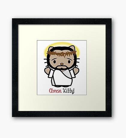 Amen Kitty - Hello Kitty Jesus Framed Print