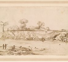 Giovanni Francesco Barbieri, called Il Guercino,  Landscape. River with Bathers by Adam Asar