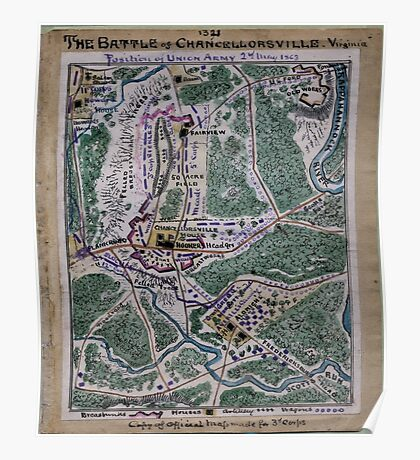 Civil War Maps 1739 The Battle of Chancellorsville Virginia position of Union Army 2nd May 1863 Poster
