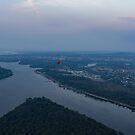 Gliding Over Ottawa River - a Hot Air Balloon Liftoff in the Morning Fog  by Georgia Mizuleva