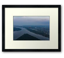 Gliding Over Ottawa River - a Hot Air Balloon Liftoff in the Morning Fog  Framed Print