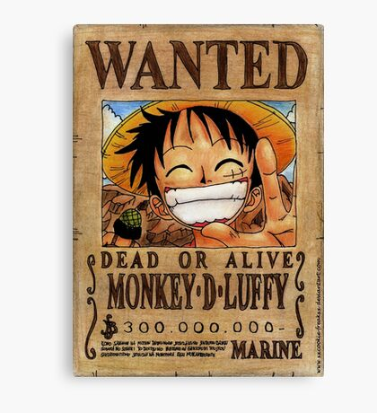 Wanted Luffy - One Piece  Canvas Print