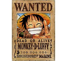 Wanted Luffy - One Piece  Photographic Print
