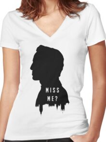 Sherlock Holmes Jim Moriarty Miss me Women's Fitted V-Neck T-Shirt