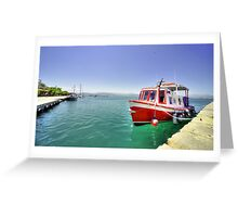 Red Boat at Nafplion Harbour Greeting Card