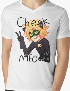 Check Meowt! Cat Noir Mens V-Neck T-Shirt