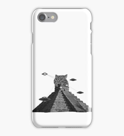 The awesome cat pyramid fighting the atrocious spaceships iPhone Case/Skin