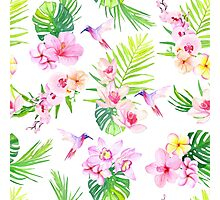 Hummingbirds and tropical flowers seamless vector pattern Photographic Print