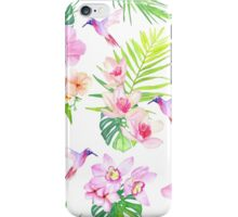 Hummingbirds and tropical flowers seamless vector pattern iPhone Case/Skin