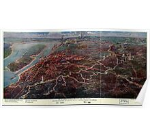Civil War Maps 1815 The Vicksburg National Military Park and vicinity showing lines of siege and defense of the city National cemetery in background Poster