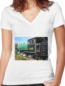 steam train Women's Fitted V-Neck T-Shirt