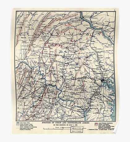 Civil War Maps 1455 Position of Union and Confederate armies on the morning of July 1 1863 Poster