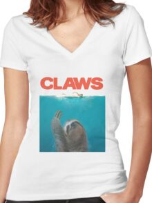 Sloth Claws Parody Women's Fitted V-Neck T-Shirt