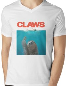 Sloth Claws Parody Mens V-Neck T-Shirt