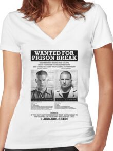 Wanted For Prison Break Women's Fitted V-Neck T-Shirt