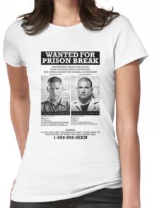 Wanted For Prison Break Womens Fitted T-Shirt