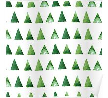 Seamless pattern with grunge green triangles Poster