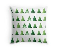 Seamless pattern with grunge green triangles Throw Pillow