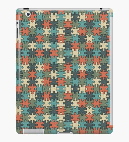 Jigsaw Puzzle Seamless Pattern in Vintage Color Palette iPad Case/Skin