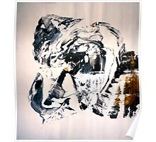 Path from GOLD to White - BIG B&W Original mixed media painting Poster