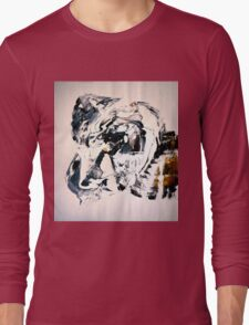 Path from GOLD to White - BIG B&W Original mixed media painting Long Sleeve T-Shirt