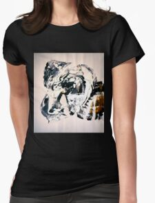 Path from GOLD to White - BIG B&W Original mixed media painting Womens Fitted T-Shirt