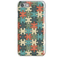 Jigsaw Puzzle Seamless Pattern in Vintage Color Palette iPhone Case/Skin