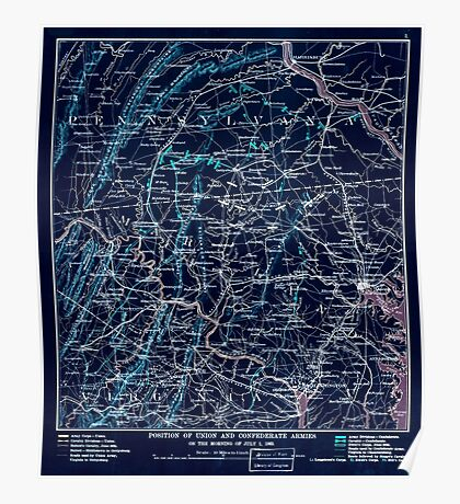 Civil War Maps 1455 Position of Union and Confederate armies on the morning of July 1 1863 Inverted Poster