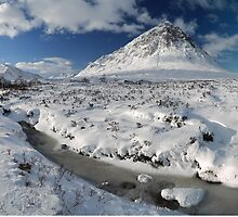 The road to Glen Etive in Winter - Panorama by Maria Gaellman