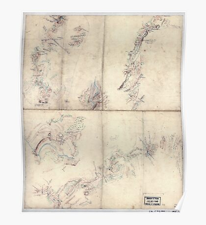 Civil War Maps 1954 Five sketches along the Valley Pike in the vicinity of Fishers Hill Strasburg Cottontown Mount Hope Toms Brook etc Poster